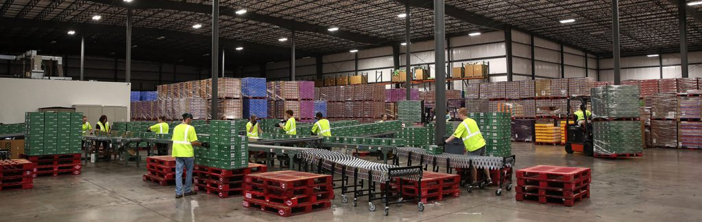 Co-packing services in a warehouse