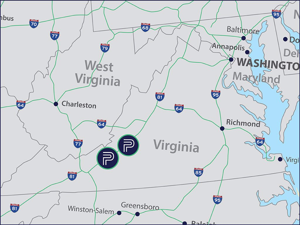 Map of warehouse locations in Virginia